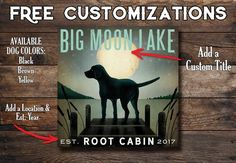 Free Customization Moon rise Labrador Dock Lake Dog Stretched