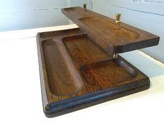 Rote küchenuhr ~ Vintage appetizer tray platter covered butcher block center