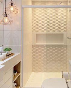 Leque maravilhoso esse banheiro clarinho com revestimento 😍 ⠀ ✍🏻 Projeto de 📷 Foto de 🔗… Bathroom Design Luxury, Bathroom Design Small, Home Interior Design, Plafond Design, Bad Styling, Bathroom Renos, Bathroom Styling, Home Projects, House Design