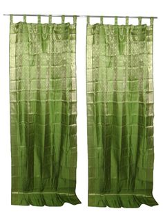 2 Sari Curtain Spring Green Brocade Silk Drapes Window Panels #indiandrape #panels #mogulinterior #IndianDrapes #IndianCurtains #sariCurtainsindiahomedecor #decorativewindow