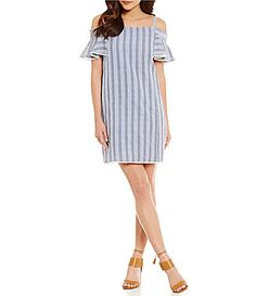 Maggy London Twin Stripe Seersucker ColdShoulder Shift Dress #Dillards
