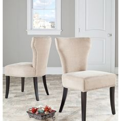 Safavieh Matty Wheat Polyester Nailhead Dining Chairs (Set of 2)   Overstock.com Shopping - The Best Deals on Dining Chairs