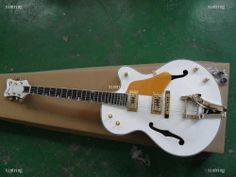Factory Custom White Gret Sch Falcon 61&20 Gold Pick Guard Shark Teeth Jazz Electric Guitar With Bigsby Free Shipping on TradeTang.com