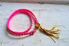 Studded pink neon genuine leather & gold double wrap bracelet with gold tassel