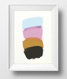 Printable Abstract art acrylics light tones and by DanHobdayArt
