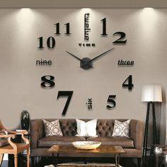 Cheap New Black Wall Clock Living Room DIY 3D Home Decoration Mirror Large Art Design EVBY #69479, Compro Calidad Relojes de Pared directamente de los surtidores de China: Descripción: Una moda y creativo DIY reloj de pared hará que su sala de estar más personalizado y únic