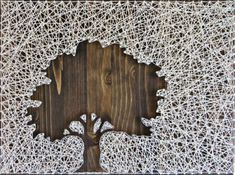 Inverse Oak Tree String Art Kit - String of the Art Craft Projects For Adults, Arts And Crafts Projects, Craft Ideas, Wine Bottle Crafts, Mason Jar Crafts, String Art Patterns, Fun Diy Crafts, Thread Art, Pattern Art