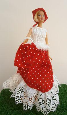 Jupe rouge à pois blancs et dentelle pour poupée barbie : Jeux, jouets par tit-mome
