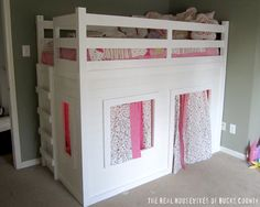 East Coast Creative: Playhouse Loft Bed {Little Girl's Room} | Adorable playhouse loft bed for little girl, bulit using Ana White's plan. | Maybe someday.