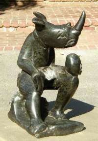 stone sculpture of the rhinoman from the shona tribe of zimbabwe