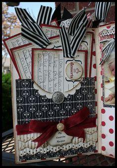 Pink Buckaroo Designs: My Favorite Artisan Entry- Altered Book Scrapbook Recipe Book, Mini Scrapbook Albums, Scrapbook Paper Crafts, Scrapbook Cards, Mini Albums, Travel Scrapbook, Paper Crafting, Scrapbooking Journal, Scrapbooking Layouts