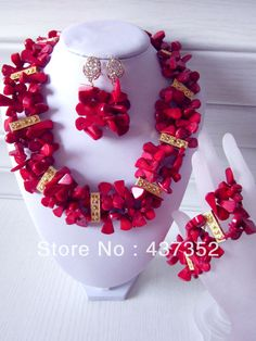 2014 New Fashion Nigerian Wedding African Beads Jewelry set Red Coral Beads Bridal Jewelry Set CWS-256 $68.70