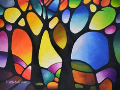 SUNSET TREES,  Giclee on Canvas, 30x40 inches, abstract geometric urban art by Sally Trace