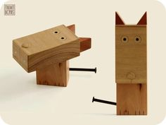 Animaderos: mascotas de madera | Emma&Rob Wooden Animals, Junk Art, Robot Art, Wood Toys, Woodworking Crafts, Wood Crafts, Dog Cat, Crafts For Kids, Rustic