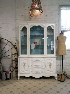 Painted Cottage Chic Shabby White Romantic French China Cabinet // From paintedcottages on Etsy $595.00