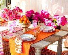 gartenparty deko in pink und orange