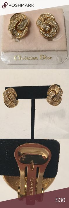 "CHRISTIAN DIOR AUTHENTIC CLIP ON EARRINGS CHRISTIAN DIOR AUTHENTIC CLIP ON EARRINGS. Approx 1"" high and .75"" wide. Weight 17.2 grams. 🚫 trades. Reasonable offers considered. Christian Dior Jewelry Earrings"