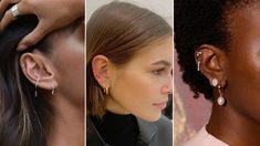 7 Piercing Trends Taking Over Ears (and Nipples) in 2020 - Types of Ear Piercings to Try in 2020 — Conch, Tragus, Helix Lobe Piercing, Tragus Piercings, Statement Earrings, Stud Earrings, Bamboo Hoop Earrings, Types Of Ear Piercings, White Gold Jewelry, Trends, Bridal Jewelry