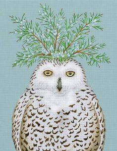 Melissa Shirley Designs | Hand Painted Needlepoint | Snowy Owl © Vicki Sawyer