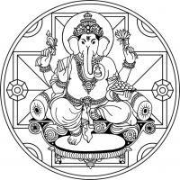 Mandala Ganesha 2. Para imprimir, colorear, pintar.