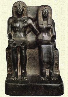 Thoutmôsis IV et sa mère Tiâa I - Musée Égyptien du Caire