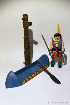 Airgam Boys Indio con canoa, totem y todas sus armas - Serie oeste Airgamboys (Juguetes - Figuras de Acción - Airgam Boys)