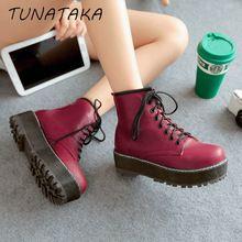 Nova plataforma ankle boots moda feminina dedo do pé redondo botas sapatos de tamanho grande preto branco vermelho(China (Mainland))