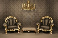 Baroque Armchairs with gold frame in old interior. Luxurious furniture.