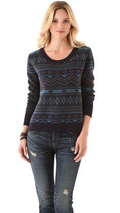 Haute Hippie Fair Isle Cropped Sweater