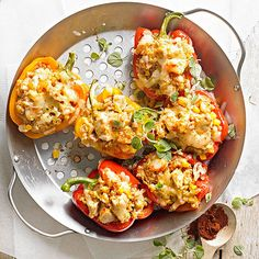 Pick your protein -- shrimp, chicken, or pork -- for these colorful stuffed peppers:  http://www.bhg.com/recipes/healthy/dinner/heart-healthy-grilling-recipes/?socsrc=bhgpin060614southwesternstuffedpepperspage=9