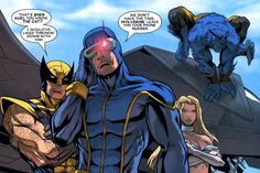 hoechlinslapsdylansbutt:  Sassy Scott Summers \o/ Look at Beastie and Wolve <3 I love Xmen so fucking much.  Wolverine: That's Shen Kuei, you know. The Cat? I would've liked thowin' down with him. Cyclops: We don't have the time, Wolverine. Leave him your phone number.