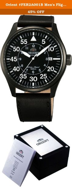 "Orient #FER2A001B Men's Flight Collection Leather Band Pilot Automatic Watch. About Orient: Orient Watch was formally established in July 13th, 1950 in Tokyo. However, the history of Orient Watch really dates back to 1901, when Shogoro Yoshida, the founder of Orient, opened a wholesale watch store in Ueno, Japan. Orient Watch has always focused on mechanical watches, primarily automatic watches with its own in-house automatic movements Orient was once part of the ""Big Three"" watch…"