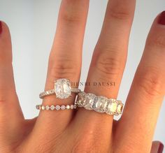 Solitaire engagement ring, rose gold diamond band and 5 stone diamond band. www.henridaussi.com www.facebook.com/henridaussi #whitegold #luxury #fashion #jewelry #diamonds