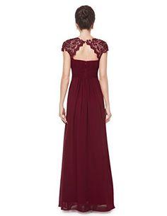 edles langes spitze abendkleid in bordeaux rot  abendkleid chiffon abendkleider und kleider