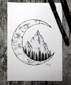 Sun and moon back cover up (but with Red Rocks). Have Hillary do it, sun cover u… Sun and moon back cover up (but with Red Rocks). Have Hillary do it, sun cover up should match arm tattoo Pencil Art Drawings, Doodle Drawings, Art Drawings Sketches, Tattoo Sketches, Doodle Art, Cute Drawings, Moon Sketches, Mountain Drawing, Mountain Tattoo