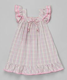 Love this Lavender Gingham Angel-Sleeve Dress - Infant & Toddler by Les Petits Soleils by Fantaisie Kids on Toddler Dress, Toddler Outfits, Baby Dress, Toddler Girl, Kids Outfits, Infant Toddler, Frocks For Girls, Kids Frocks, Little Dresses