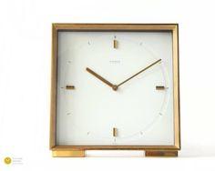 60s atlanta brass table clock mid century modern mcm for Kaminuhr modern