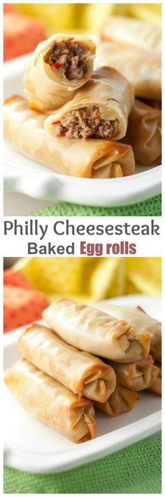 Philly Cheesesteak Baked Egg Rolls recipe with gooey, melted cheese and juicy beef makes for a tasty dinner or party appetizer ready in no time at all! They are baked, not fried! (no bake recipes dinner) Egg Roll Recipes, Easy Dinner Recipes, Beef Recipes, Appetizer Recipes, Cooking Recipes, Jalapeno Recipes, Delicious Appetizers, Dishes Recipes, Sandwich Recipes