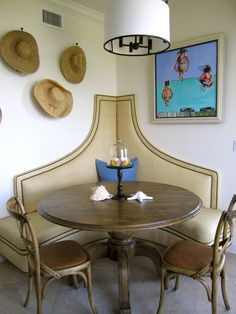 New Smyrna Beach FL ~ cute raffia and nailhead corner banquet and Palacek chairs