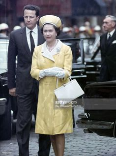 Queen Elizabeth II with King Baudouin of Belgium in Brussels at the start of her State Visit to Belgium on 9th May 1966.