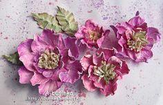 Всем привет :)  Хочу показать как делала вот такие цветочки    Не то чтобы МК, а так поэтапные фото :)