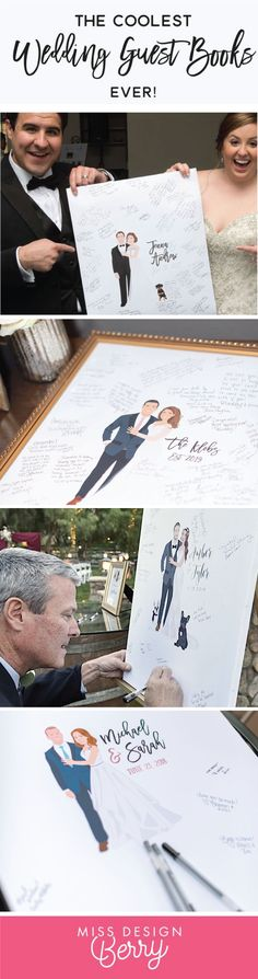 The COOLEST wedding guest book alternatives for 2019 Miss Design Berry custom illustrates the portrait to look JUST like you will on your wedding day! You can even include Pets, special accessories, or incorporate your hobbies! Your wedding guests w - t On Your Wedding Day, Fall Wedding, Dream Wedding, Perfect Wedding, Wedding Ceremony, Wedding Planner, Destination Wedding, Monsieur Madame, Wedding Reception Decorations