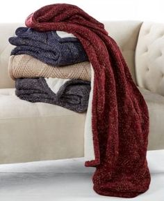 Martha Stewart Collection Reversible Metallic Sweater-Knit Lattice Fleece Throw, Created for Macy's -