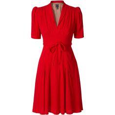 Heavy Crepe Tea Dress ($223) ❤ liked on Polyvore featuring dresses, red, vestidos, short dresses, women, v neck dress, short sleeve mini dress, v-neck dresses, short sleeve dress and red dress