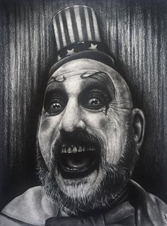 Captain Spaulding by on DeviantArt Rob Zombie Music, Rob Zombie Film, Zombie Art, Zombie Movies, Evil Clown Tattoos, Scary Tattoos, Movie Tattoos, Horror Posters, Horror Icons