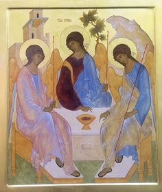 The All-Holy, Consubtantial and Undivided Trinity aka The Hospitality of Abraham. Byzantine Icons, Byzantine Art, Religious Icons, Religious Art, Roman Church, Stained Glass Church, Angel Images, Angel Crafts, Best Icons