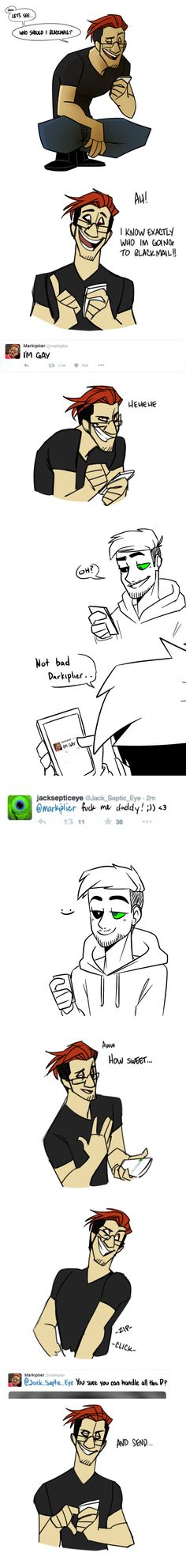 Darkiplier with Antisepticeye are blackmailing Mark and Jack. I need more of this!