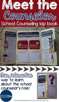Meet the School Counselor lap book for introducing the elementary school…