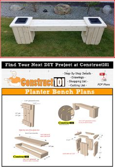 Planter bench plans - this planter bench is built using 2x4's. Free PDF download, material list, and drawings.