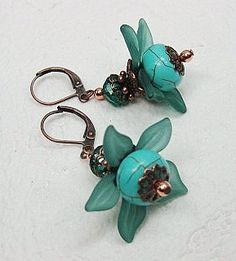 Turquoise Howlite Lucite Flower Earrings, CayaCowgirlCreations